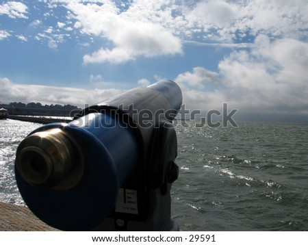 A Telescope on Fisherman's WHarf in San Francisco - stock photo