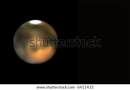 A telescope photo of the planet Mars (made from ca. 700 different exposures). The image is, of course, not supersharp. - stock photo