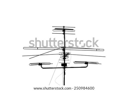 A television antenna isolated on white background - stock photo