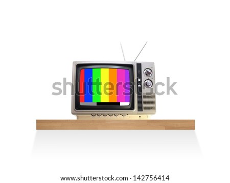 A television isolated against a white background - stock photo