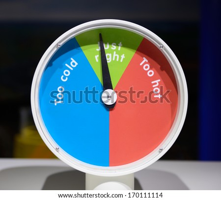a temperature gauge showing just the right temperature - stock photo