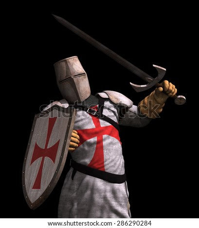 A Templar Knight in battle - 3D render. - stock photo