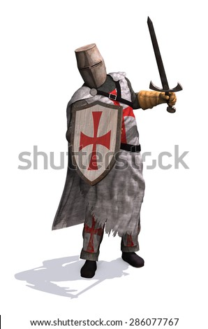 A Templar Knight ready to do battle - 3d render.