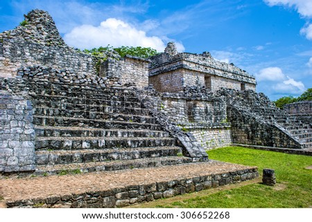 A temple at Ek balam in Quintanna Roo Mexico - stock photo