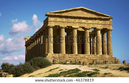 a temple in the temple's valley in agrigento, sicily, italy