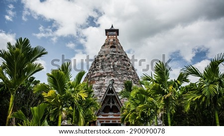 a temple on samosir island which is located on lake toba in sumatra, indonesia - stock photo