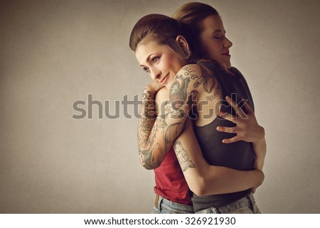 A tender hug - stock photo