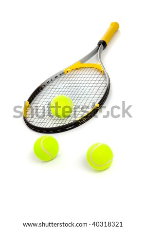 A tennis racket and three yellow balls on a white background - stock photo