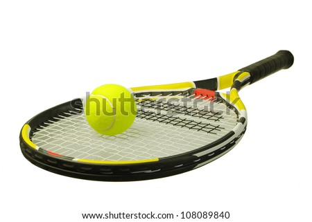 A tennis racket with  tennis ball on a white background - stock photo