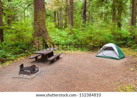 A tent camp site near Olympic National Park - stock photo