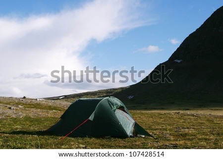 A tent in the mountains, Sweden.