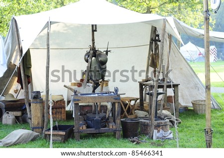 a tent of a knight with armor - stock photo