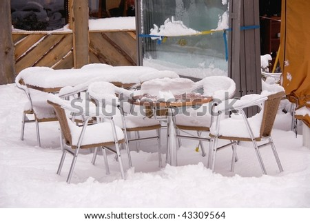 A terrace with snow