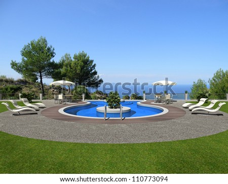 a terrace with swimming pool and beautiful view to the sea - rendering - stock photo