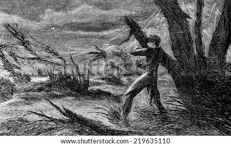 A terrible storm. I cling to the branch of a tree, vintage engraved illustration. Journal des Voyages, Travel Journal, (1880-81).