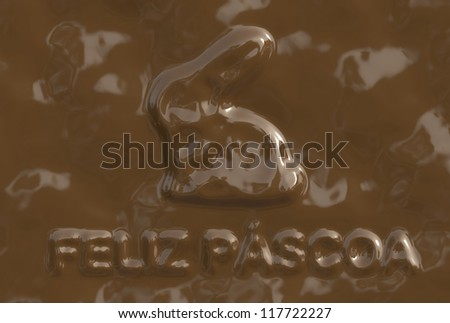 A text/phrase made of chocolate from a chocolate serie. 'Feliz P���¡scoa' is in Portuguese-BR language and it means 'Happy Easter'.