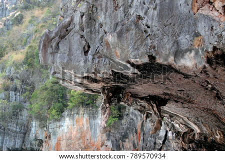A texture of a limestone cliff on an island, abstract nature image.