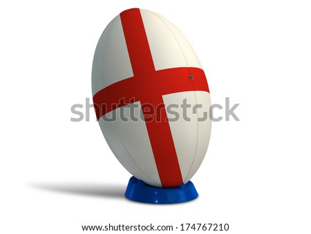 A textured rugby ball in the colors of the british national flag on a kicking tee on a isolated white background - stock photo