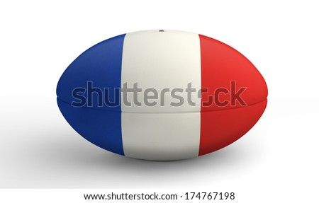 A textured rugby ball in the colors of the french national flag on an isolated white background - stock photo