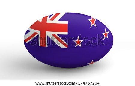 A textured rugby ball in the colors of the new zealand national flag on an isolated white background - stock photo