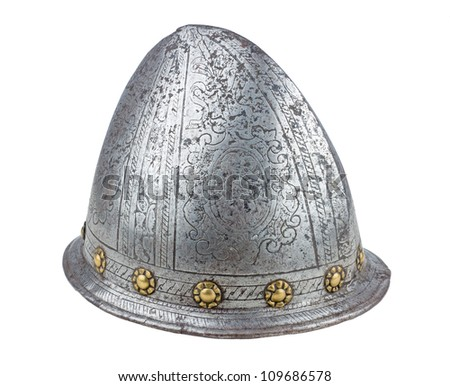A 16th century Italian etched cabasset helmet - stock photo