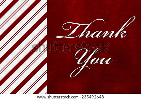 A Thank You card, A Candy Cane Stripes with words Thank You over red plush background - stock photo