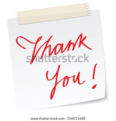 a thank you note message, with handwritten texts, for business concepts or customer service. - stock photo