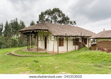 A thatched roof traditional Palace Reception Hall built in the 1880�¢??s by Emperor Menelik II on Mount Entoto