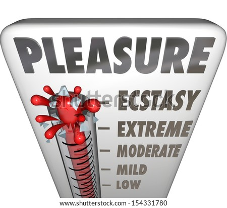 A thermometer measuring how much pleasure you receive from an action or relationship, with mercury rising past low, mild, moderate and extreme to reach Ecstasy