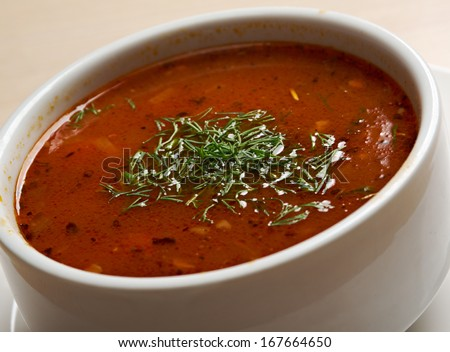 A thick and hearty spicy Mexican soup - stock photo