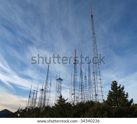 A thick array of communication towers on Mt Wilson in Southern California.