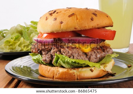 A thick cheeseburger made from organic grassfed beef - stock photo