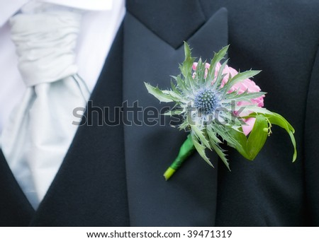 A thistle buttonhole at a Scottish wedding - stock photo