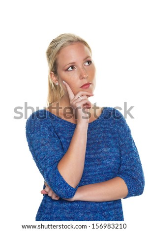 a thoughtful, sympathetic young woman. half-length in front of white background - stock photo