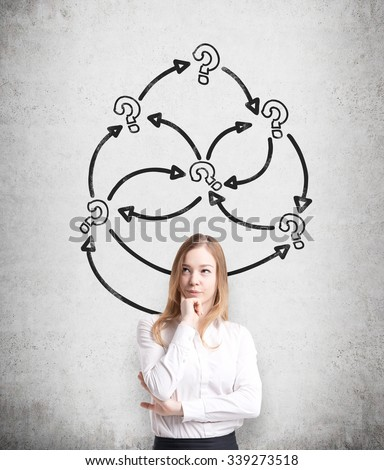 A thoughtful young business lady is holding her chin. Arrows with question marks are drawn on the concrete wall. A concept of problem solving. - stock photo