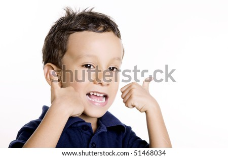 A three year old child expressing a positive attitude. Isolated image, Space to insert text or design