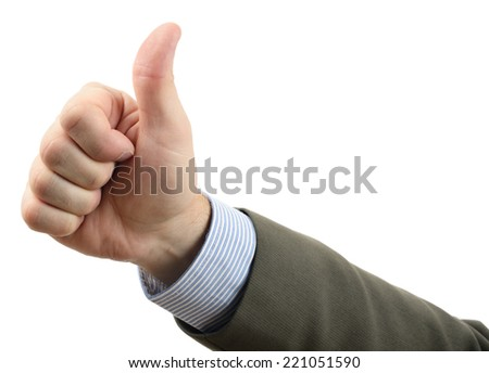 A thumbs up gesture isolated on a white background - stock photo