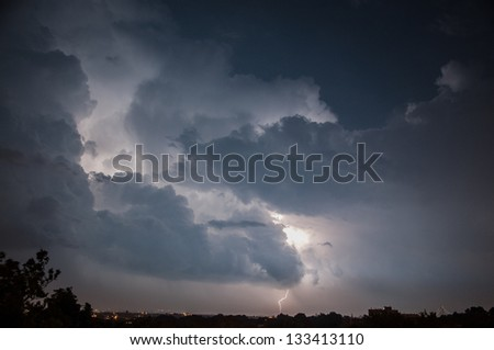 A thunderstorm over Brooklyn. - stock photo