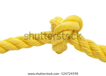 A tied knot in a yellow rope over a white background.