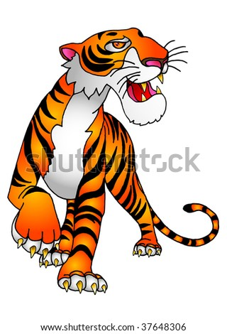 a tiger walking and showing it claws and fangs in  freehand made - stock photo