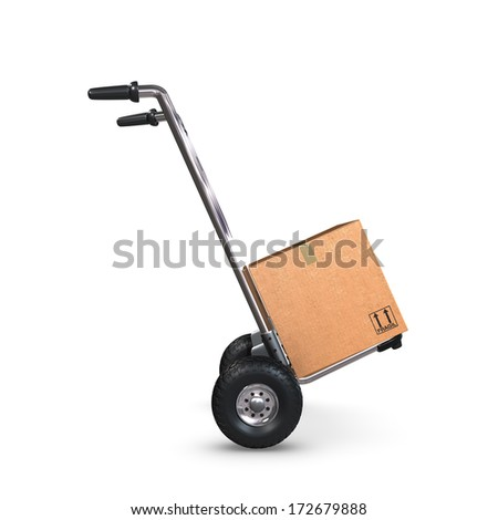 A tilted Hand-Truck with a cardboard box on white background. - stock photo