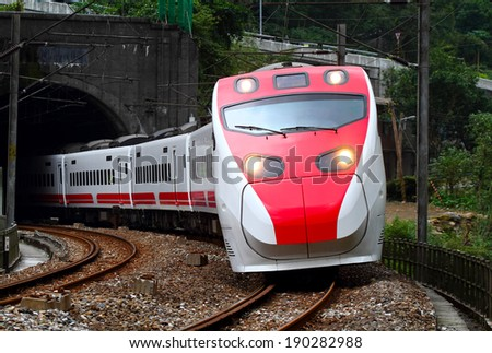 A Tilting Train in Taiwan. - stock photo