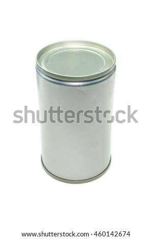 A tin can isolated on white background close up - stock photo