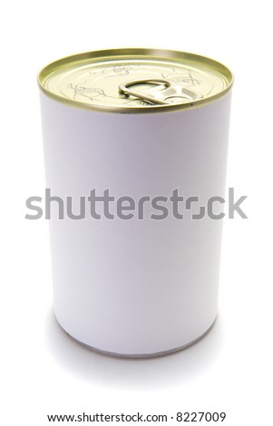 A tin food can on a white background with a blank label.