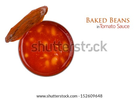 A Tin of Baked Beans in Tomato Sauce Isolated on White Background. Copy Space.