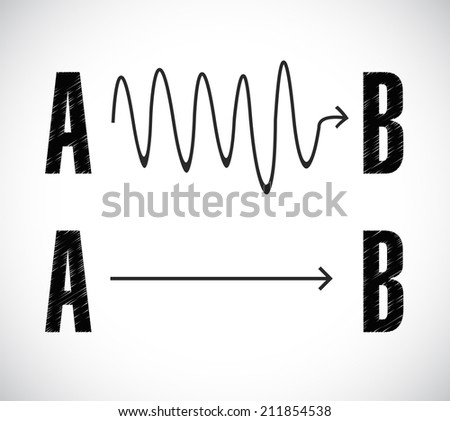 a to b roads illustration design over a white background - stock photo