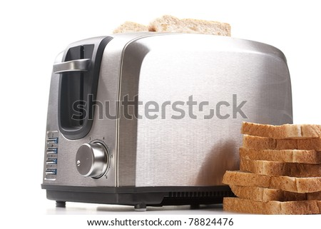 A toaster and a special bread for toast. - stock photo
