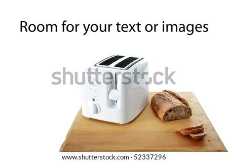 a toaster with whole wheat bread isolated on white