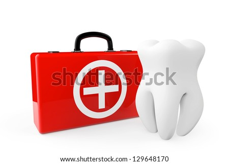 A Tooth and a First Aid Case on a white background - stock photo