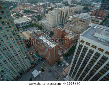 A top down view of buildings in Raleigh, NC at sunset in June, 2016.
